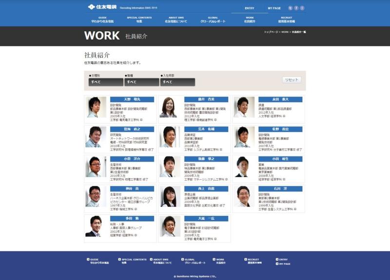 様々な社員の仕事とプライベートの様子を伝えている住友電装の新卒採用サイト