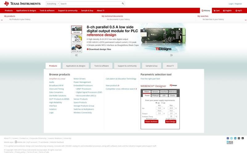 テキサスインストルメンツのWebサイトでは回路設計ツールの利用や様々な資料・CADデータのダウンロードが可能